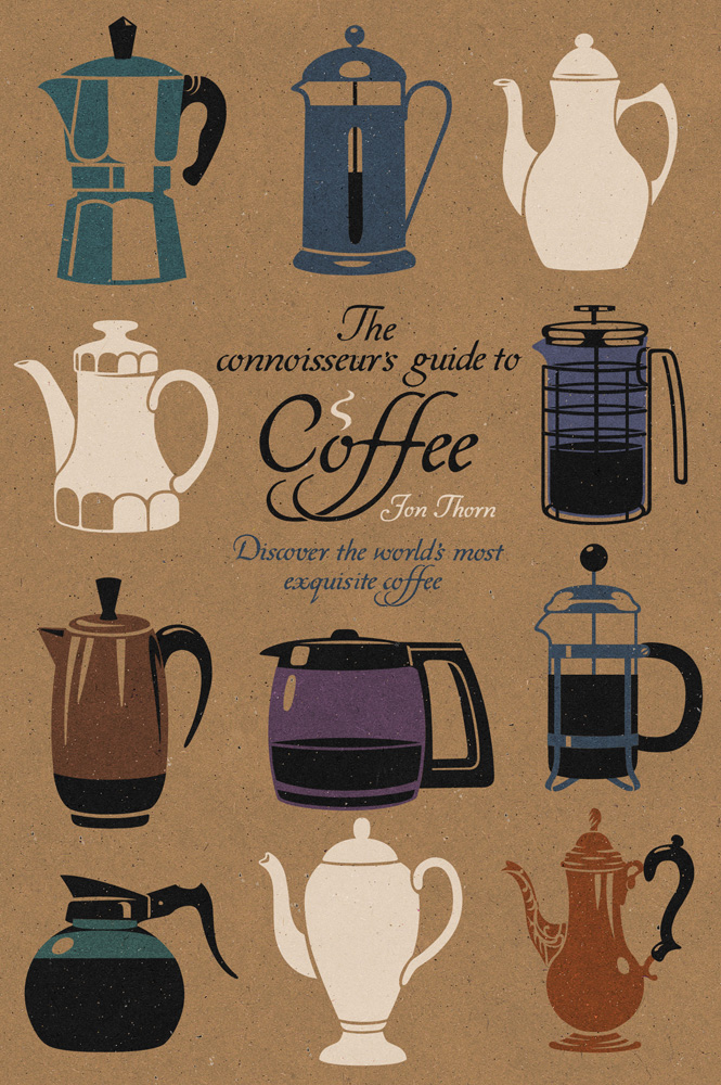 Book cover illustration by John Holcroft of a book about coffee