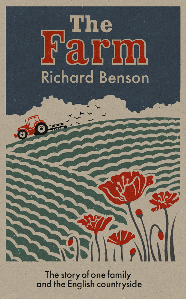 Book cover illustration by John Holcroft of a book called 'the farm' by Richard Benson