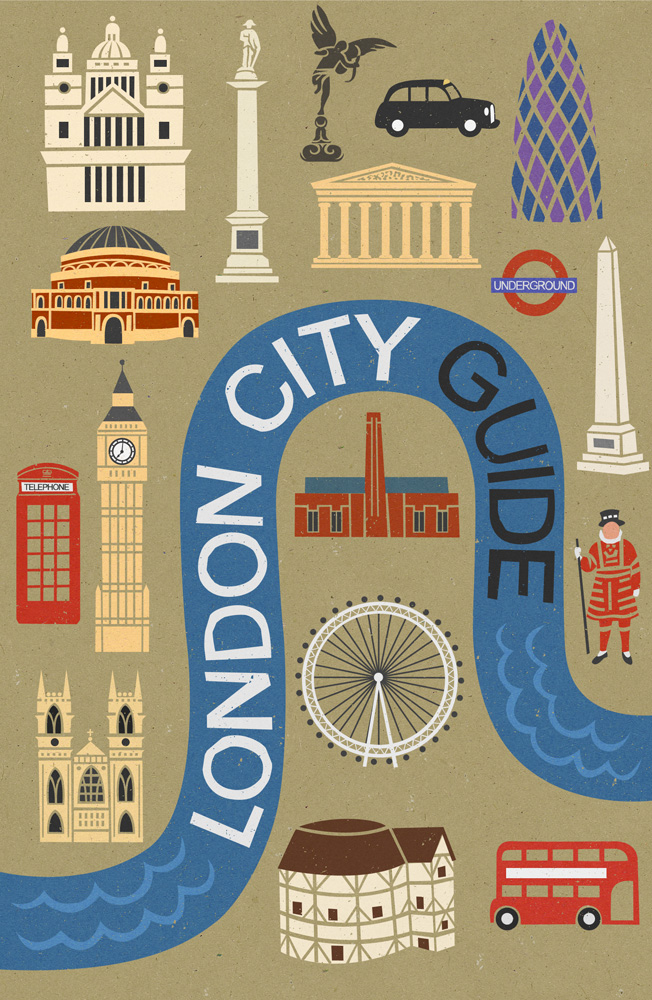 Book cover illustration by John Holcroft of London guide by Lonely Planet