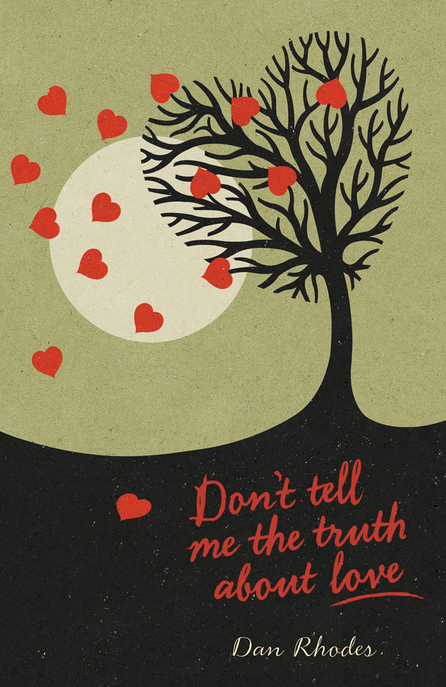 Book cover illustration by John Holcroft of Dan Rhodes' 'don't tell me the truth about love'