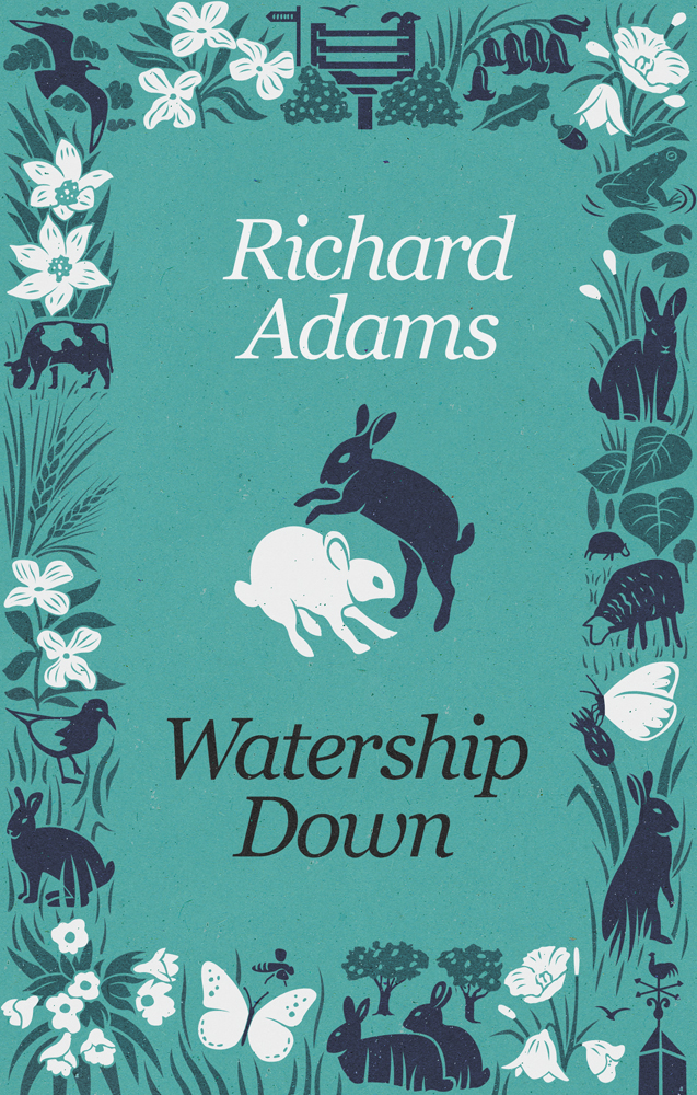 Book cover illustration by John Holcroft of Watership down by Richard Adams