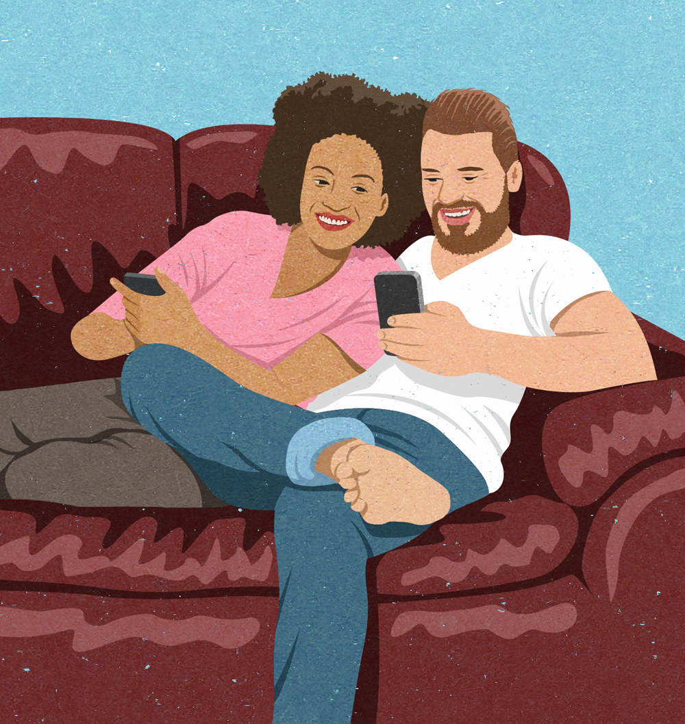 editorial illustration of millennial couple