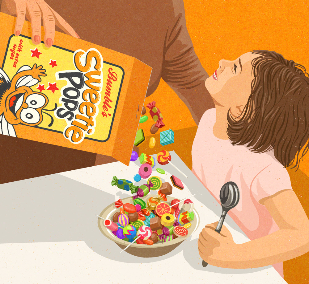 Conceptual illustration by John Holcroft called 'sweet pops' about sugary cereals