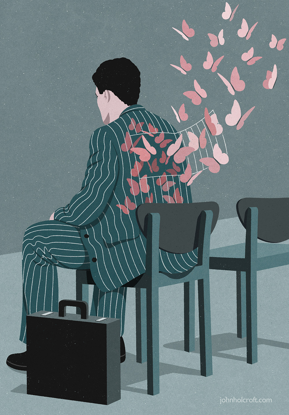editorial illustration of man waiting for interview who is nervous