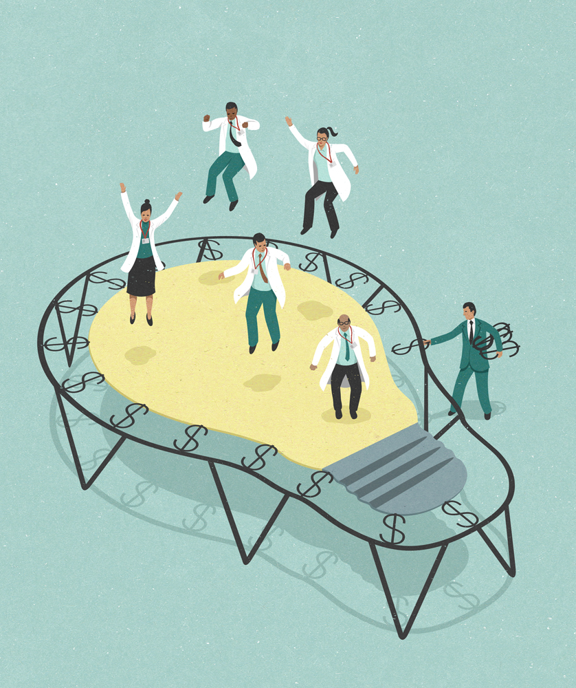 innovation and science funding cuts, illustration by John Holcroft