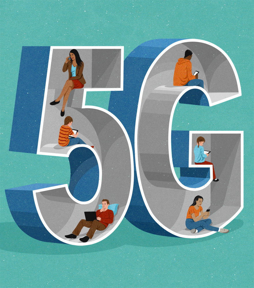 editorial illustration about 5G, with generation technology