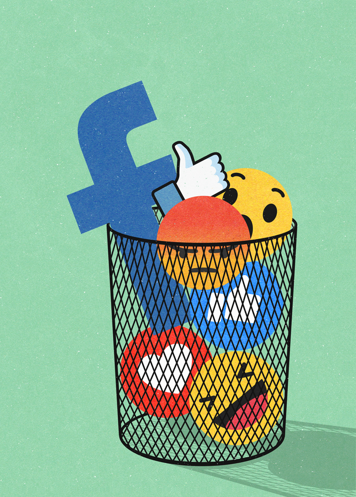 editorial illustration about social media especially facebook and more people are deleting their profiles, by John Holcroft