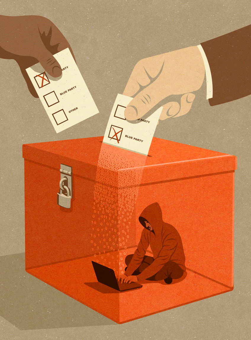 illustration about election hacking by John Holcroft