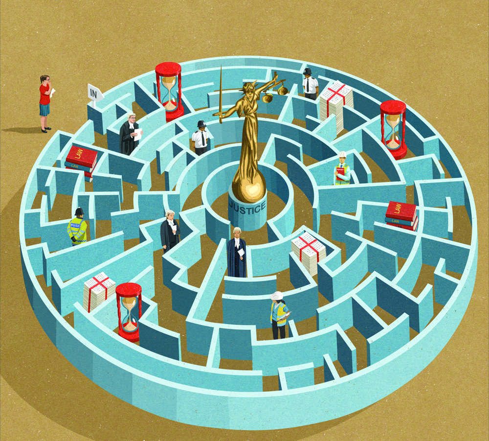 magazine illustration about seeking justice (johnholcroft.com)