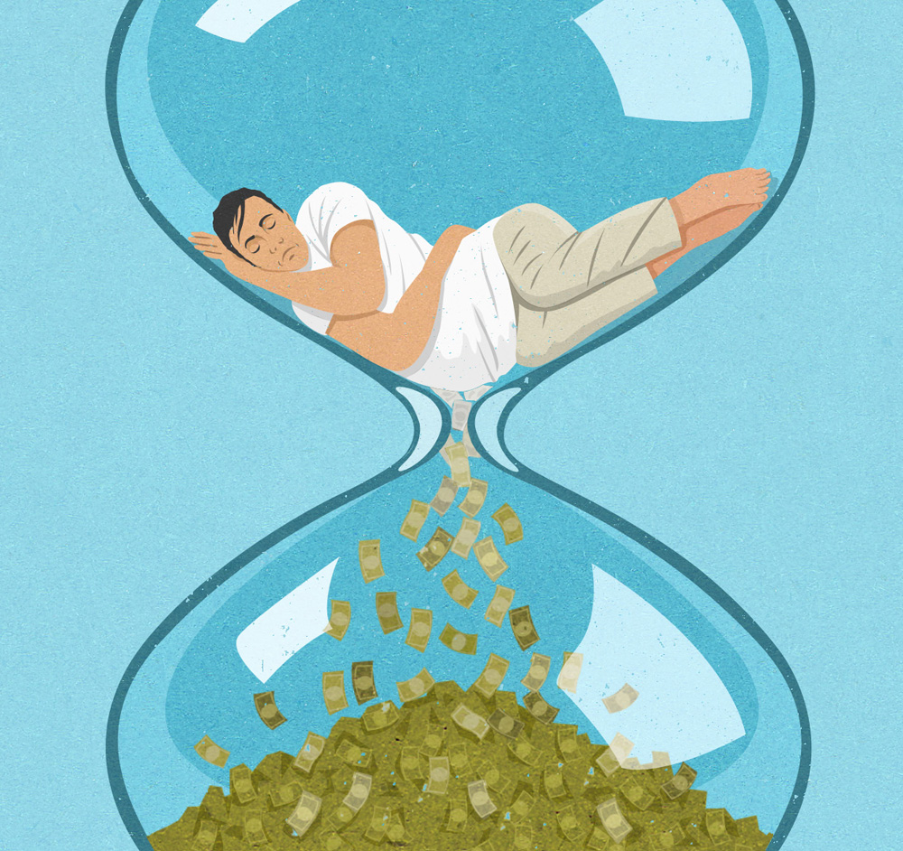 man asleep in hour glass about time being money (johnholcroft.com)