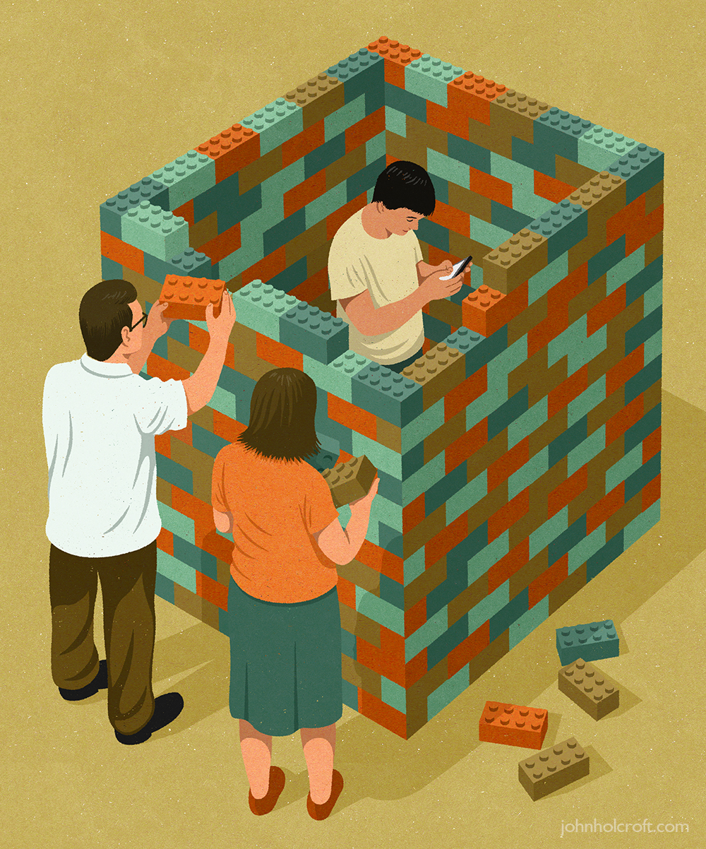 By John Holcroft editorial illustrator about teenagers having bad relationship with parents