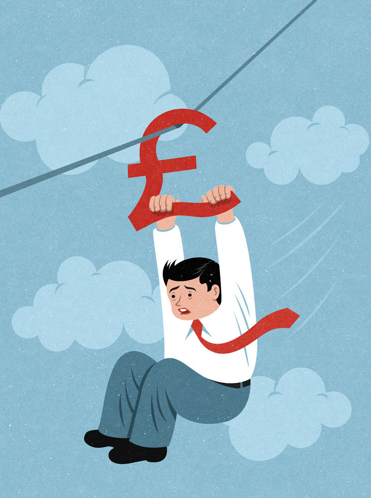 plummeting pound editorial illustration by John Holcroft
